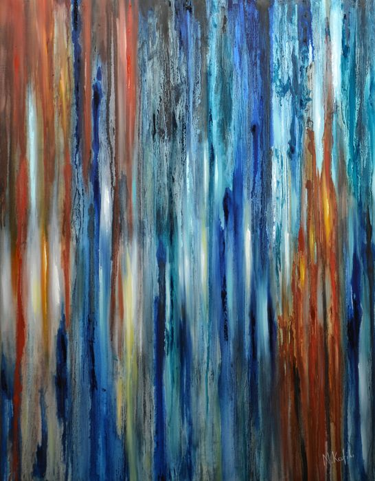 "Contemporary Abstract Painting - Rain ""Rain"" is a contemporary abstract painting.   The size of artwork is: 60 X 80 X 3 cm  The painting is 100% hand-made on high quality canvas, with the finest oil materials and it is varnished for protection against UV light and dust. All paintings are signed by the artist and a Certificate of Authenticity"