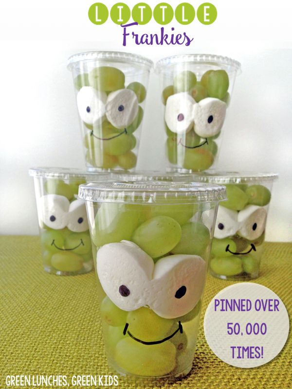 Little Frankies : A healthy halloween class snack idea from Green Lunches, Green Kids. Pinned over 50,000 times!