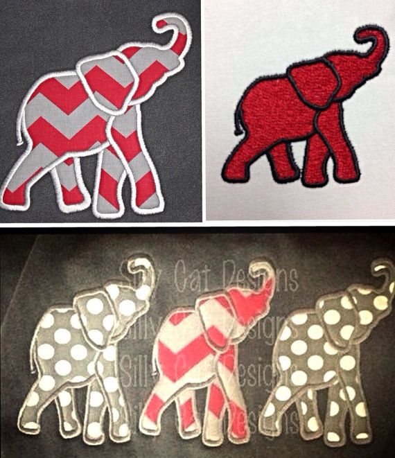 Elephant Applique and Fill Stitch Embroidery Designs (3 designs) on Etsy, $8.75