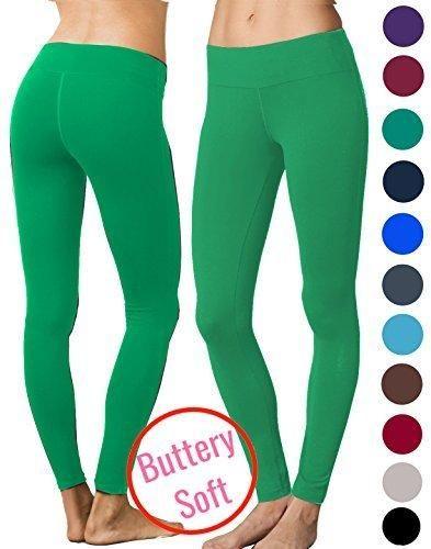 Lush Moda Extra Soft Leggings - Variety of Colors - Yoga Waist - Green