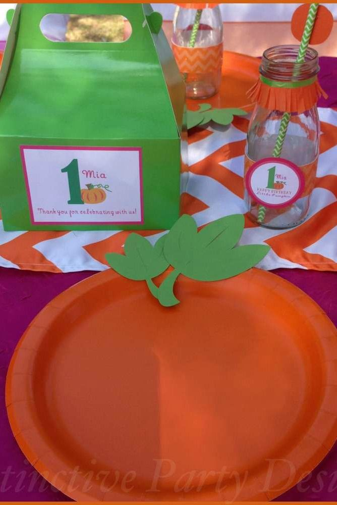Place setting at a pumpkin 1st birthday party!  See more party planning ideas at CatchMyParty.com!
