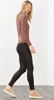 #Esprit Damen Metallic-Print Leggings, Baumwoll-Stretch, Gr. 42-44, schwarz, 4043873307261