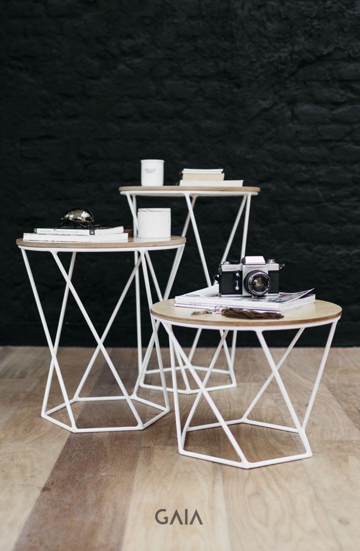 GAIA Design contemporáneo minimal geometría blanco monocromático interiorismo diseño mesas de centro mesas de noche auxiliar mesa
