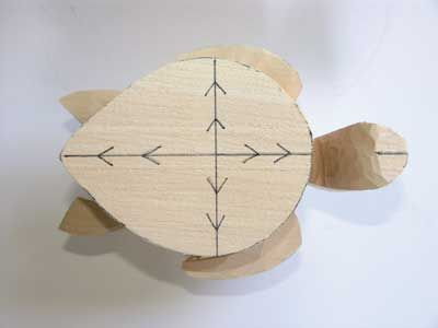 The highest point of the shell is marked where the two lines cross and the arrows indicate the direction of cuts