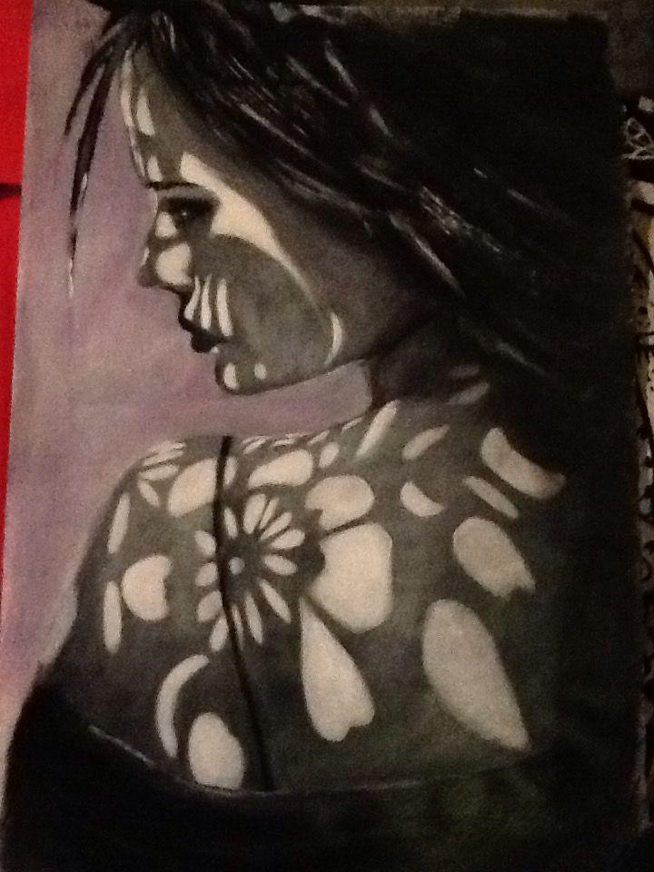 Ritratto acrilico su carta. Portrait Acrilic by Paola Petrucci