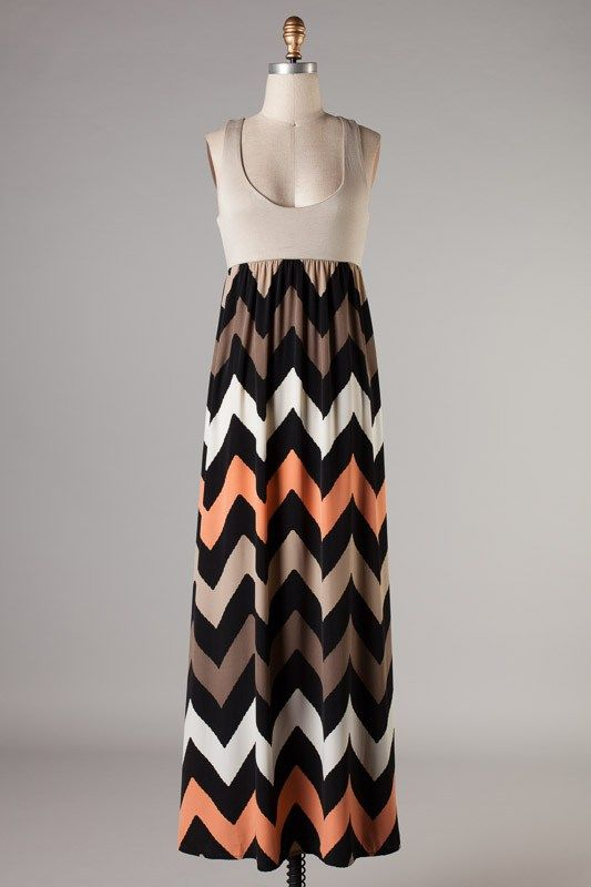 Plus Size Coral and Taupe Chevron Maxi DressPurchase