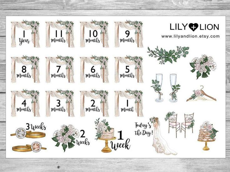Wedding Planner countdown stickers  @lily.and.lion