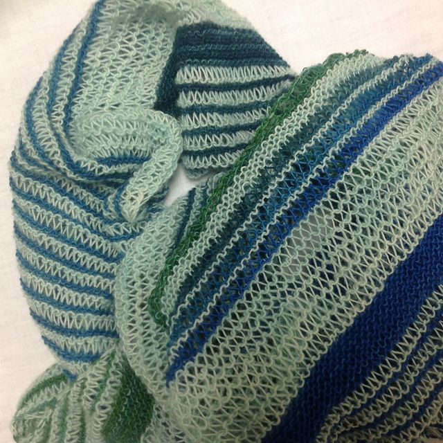Breezy Cabana by Lesley Anne Robinson, knitted by NutriMom | malabrigo Lace in Verde Adriana, Verde Esperanza, Teal Feather, Water Green and Tuareg