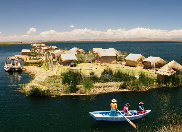 Lake Titicaca, Peru (between Bolivia and Peru)  At 12,725 feet above sea level, the world's highest navigable lake is actually quite cool indeed. Although the summer (January through March) sun can cause dreadful sunburn, the weather is still quite chilly and the water icy cold.
