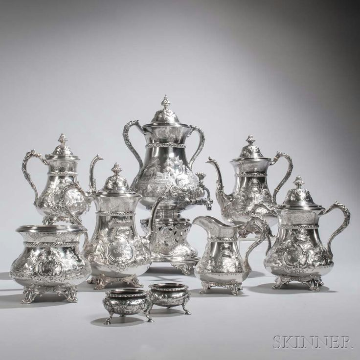 Nine-piece Coin Silver Tea and Coffee Service, Philadelphia, c. 1850.   Lot 230   Auction 2975B   Sold for $10,455