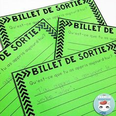 """French Exit Tickets (les billets de sortie) are great formative assessment that super easy to implement. All you need to get started tomorrow is paper and question/prompts and you can start by asking: """"Qu'est-ce que tu as appris aujourd-hui?"""" Blog post includes a free printable!"""