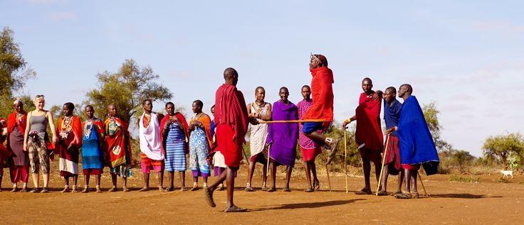 Masai people living near Amboselli National Park. Jumping dance.