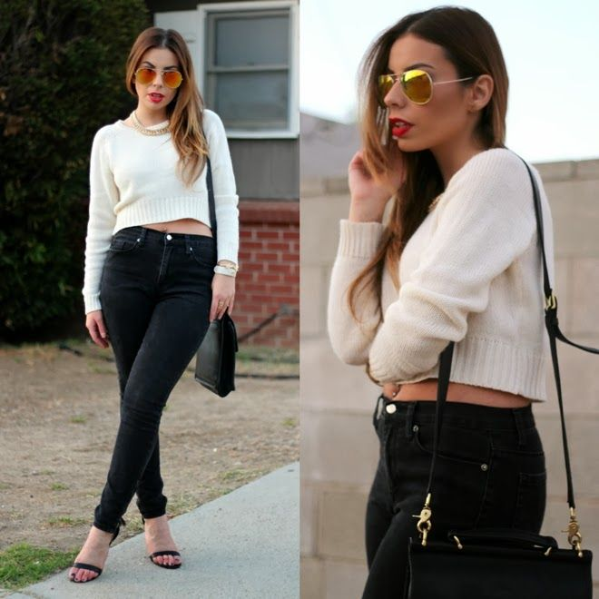 White cropped sweater and black denim skinny jeans outfit   Stiletto Beats   Pinterest   Black ...