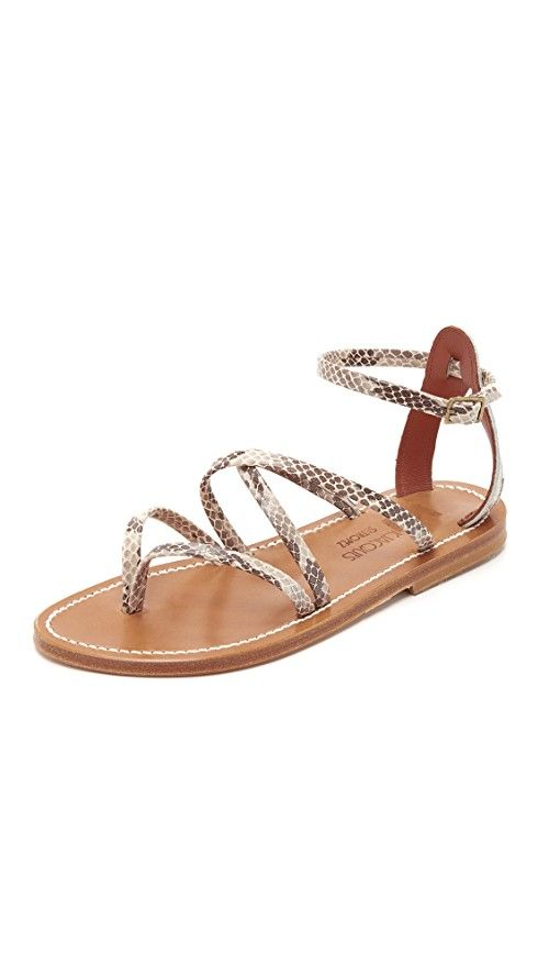 K. Jacques Epicure Sandals | Timeless K. Jacques thong sandals styled in snakeskin-embossed leather and detailed with crisscross straps. Buckle closure. Leather sole. Leather: Calfskin. Made in France. This item cannot be gift-boxed.