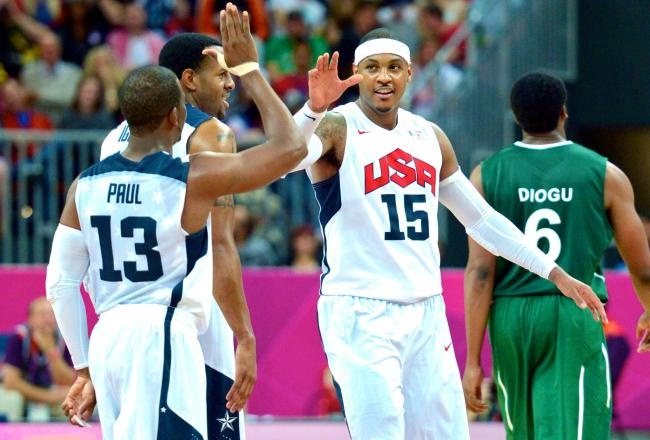 Team USA Shatters Scoring Record - USA vs. Nigeria Olympic Basketball:    It was evident from the opening tip that Team USA wouldn't have a problem putting a shellacking on Nigeria, but nobody could have expected that the United States would break the record for most points scored by a team in the Olympic Games.    Carmelo Anthony set the record for most points scored by an American in Olympic competition with 37, putting on one of the best shooting displays the sport of basketball...