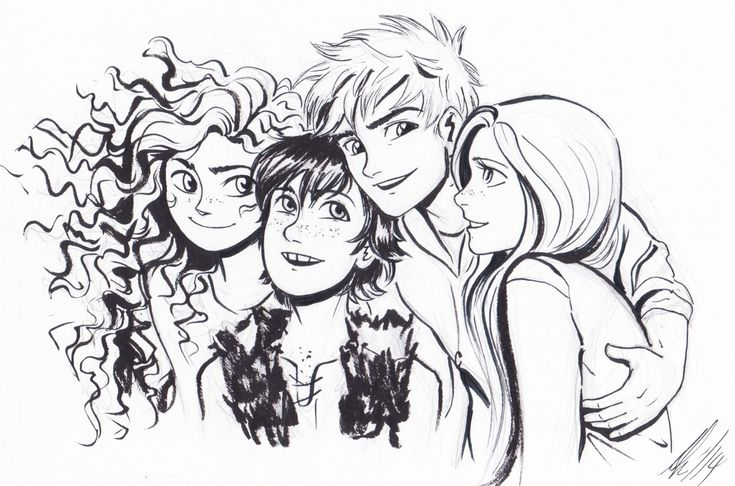 Merida, Hiccup, Jack Frost, and Rapunzel