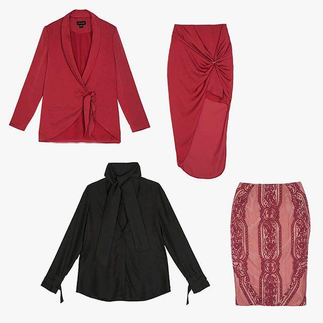 Stylestalker red blazer, price upon request, for information: stylestalker.com; Stylestalker red skirt,…
