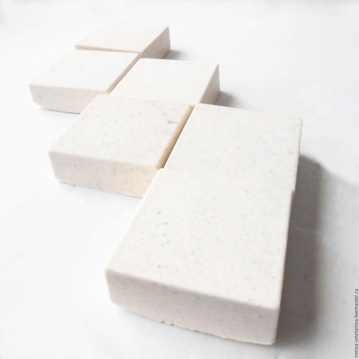 """Купить Соляное натуральное мыло """"Белый квадрат"""" - соляное натуральное мыло, мыло соляное белое"""