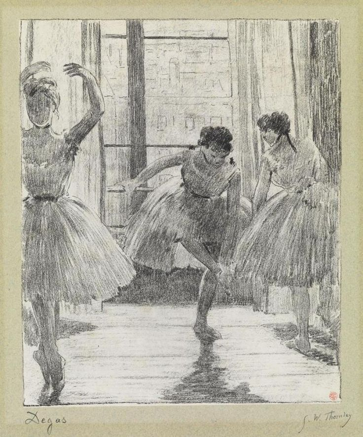 """<b>EDGAR DEGAS <span style=""""font-variant: small-caps;"""">and</b> <b>GEORGE W. THORNLEY/span <br /> <i>Avant la Classe</b>. <br /> <br /> Lithograph printed in black on cream <i>Chine appliqué</i> on a greenish gray wove backing sheet, circa 1888-89. 265x225 mm; 10 1/2x8 3/4 inches, wide (full ?) margins. From the deluxe edition of 25. Signed by Degas and Thornley in pencil, lower margin. Printed by Atelier Becquet, Paris. Published by Boussod-Valadon, Paris. From <i>Quinze Lithographies..."""