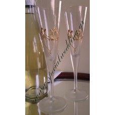 Ποτήρι σαμπάνιας γάμου χρυσές πεταλούδες  Hand painted wedding champagne flute Golden butterflies