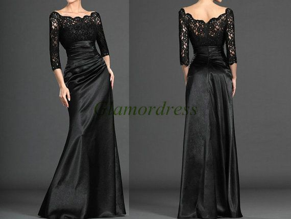 http://www.weddingstuff2014 Unique long black lace and satin evening prom by Glamordress, $145.00