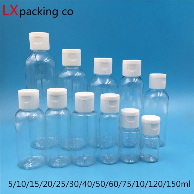 10ml 50ml 100ml Empty Transparent Plastic Pack Bottle Crystal Clear Flip Top Cap Empty Packaging Containers Wholesale 50 Bottle Refillable Bottles Bottle Sizes