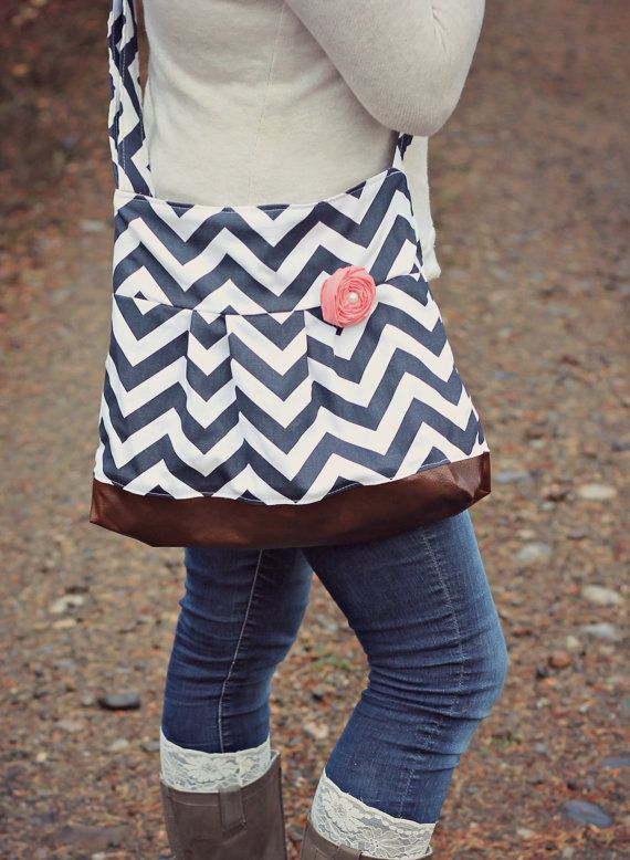 NAVY Chevron Concealed Carry Messenger Bag by SweetDaisyDefense
