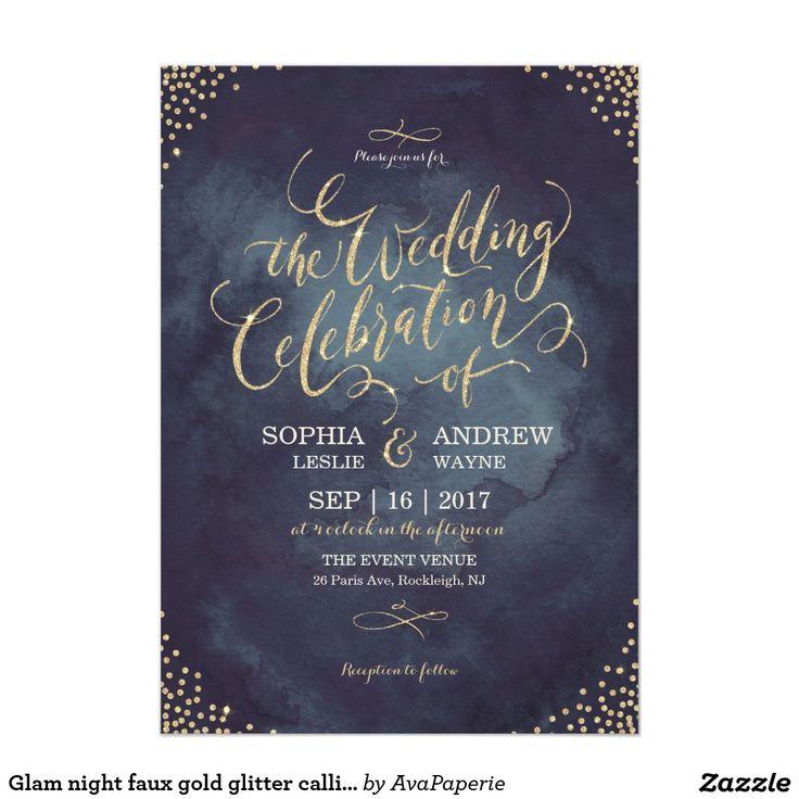 Glam night faux gold glitter calligraphy wedding