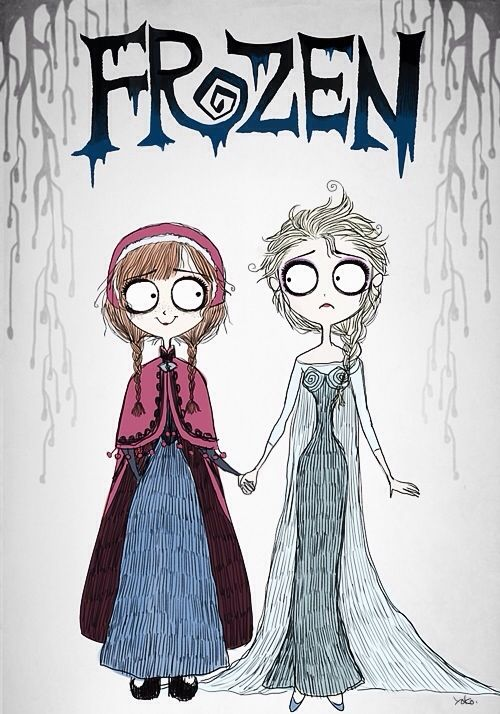 Frozen...Tim Burton style?! If someone re-created Frozen like this, I'd probably lose my mind.