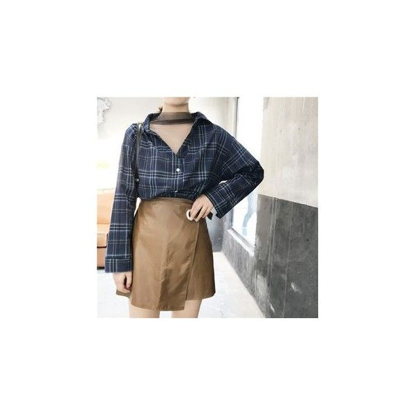 Mock Two Piece Mesh Panel Plaid Shirt (1.075 RUB) ❤ liked on Polyvore featuring tops, shirts, women, tartan shirts, sleeved shirt, mesh sleeve top, blue plaid shirt and blue top