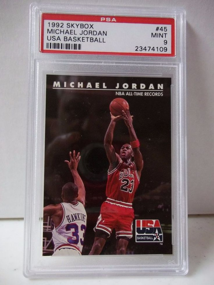 1992 Skybox Michael Jordan PSA Graded Mint 9 Basketball Card #45 USA Basketball #ChicagoBulls