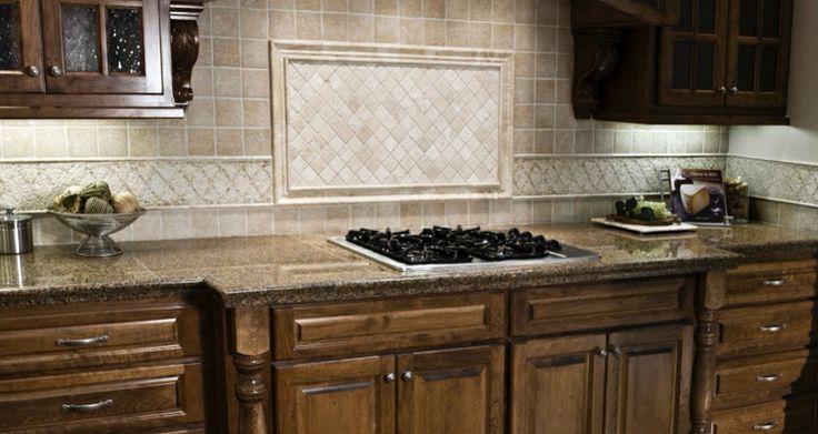 Traditional kitchen with a travertine backsplash for 50 kitchen backsplash ideas