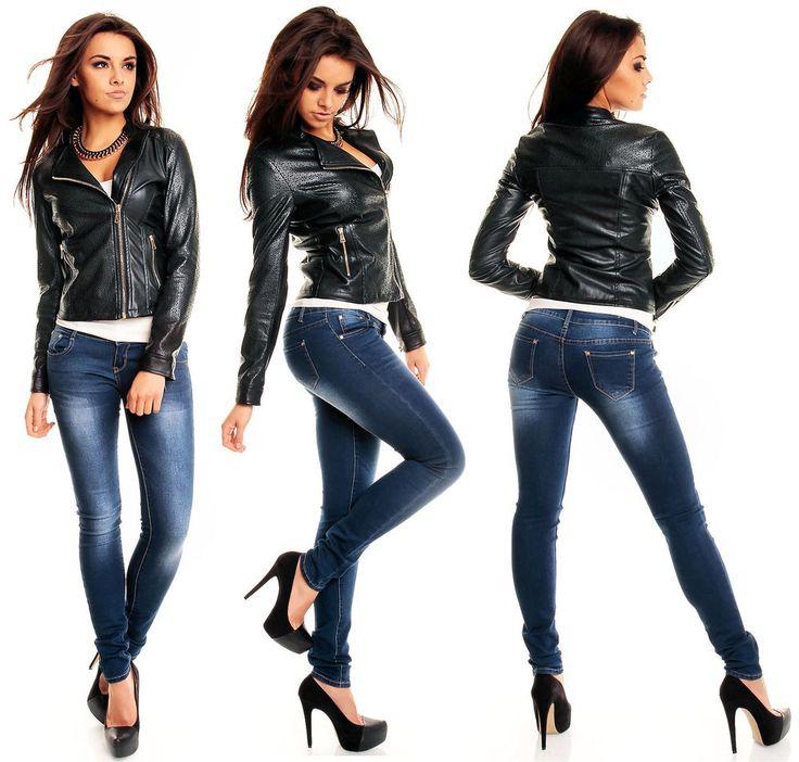 Veste cuir style motard femme