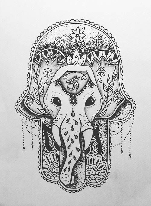 Elephant hamsa tattoo