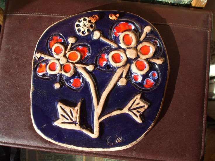 Vintage LAHOLM ART WALL Plaque tile SWEDEN Flowers Artist C.N.Cristina Nordin