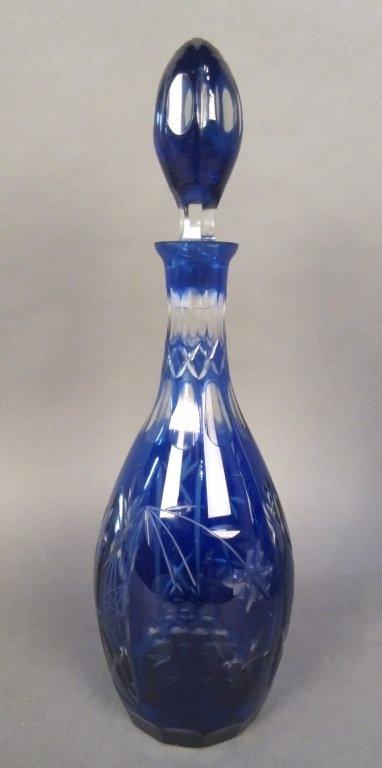 Antique Colbalt Bohemian Cut to Clear Glass Decanter