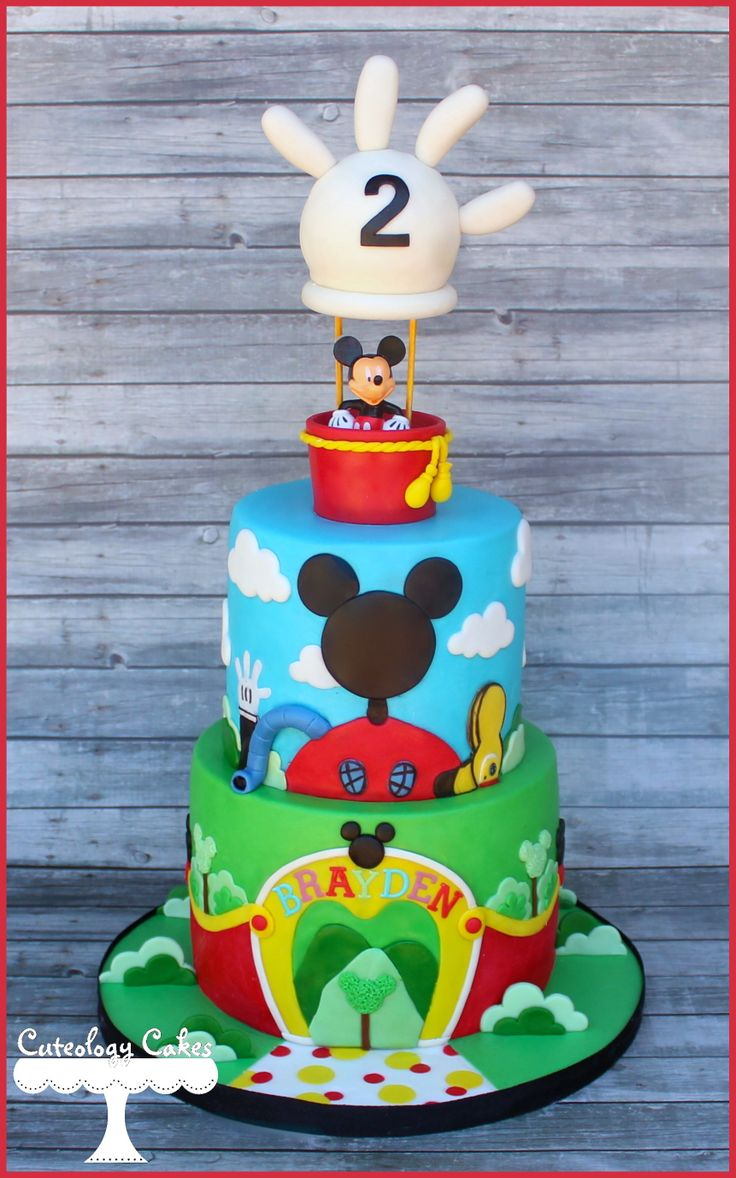 Mickey's Clubhouse Cake with Hot Air Balloon Topper www.facebook.com/i.love.cuteology.cakes