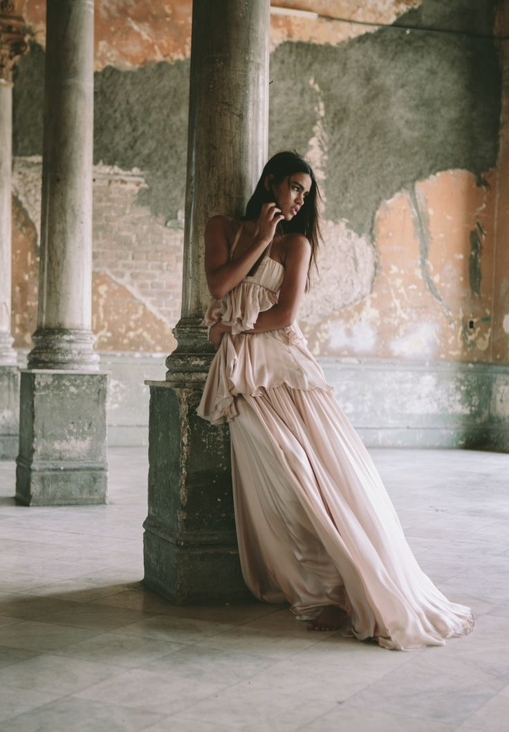 Houghton Phoenix gown- in blush satin faced chiffon with tiered layers and square halter neck. Shot on location in Cuba!