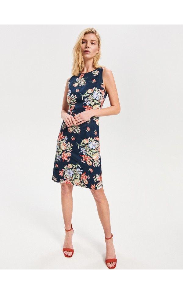 Sukienka W Kwiaty Sukienki Kombinezony Granatowy Reserved Womens Dresses Dresses Fashion