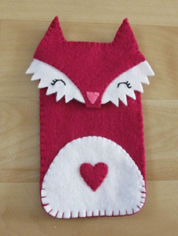 Super cute handmade fox felt phone cover by MissFeltly on Etsy, £5.00