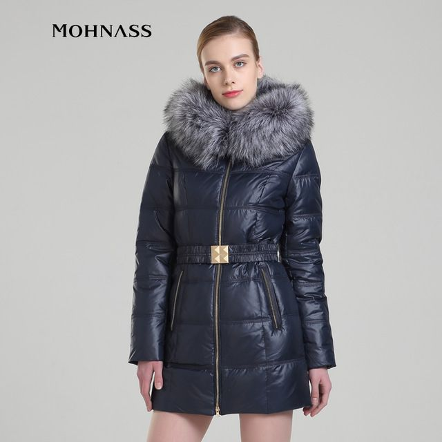 MOHNASS 2016 new style Winter Women Duck Down Artificial wool collar Jacket Slim Belt Hot Coat RUS Free Shipping 13A7200-20 US $88.62 To Buy Or See Another Product Click On This Link  http://goo.gl/Ln6ntd
