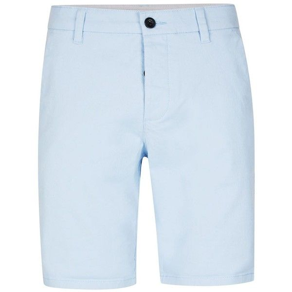 TOPMAN Light Blue Stretch Skinny Chino Shorts ($29) ❤ liked on Polyvore featuring men's fashion, men's clothing, men's shorts, blue, mens blue chino shorts, mens chino shorts, mens blue shorts, mens stretch shorts and mens light blue shorts
