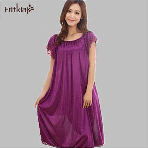 Large size women nightgowns silk satin robes short-sleeved long sleepwear dress summer casual sleepshirts dresses for women Q624