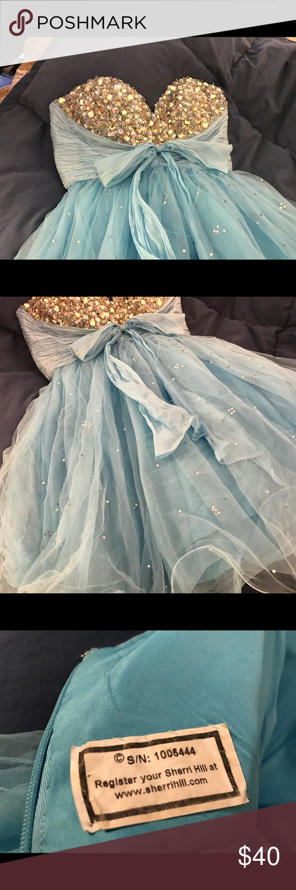 Sherri Hill Dress Cute blue dress with heavily beaded bodice. Sherri hill size tag is missing. Best guess is size 2 or 4. Sherri Hill Dresses Mini