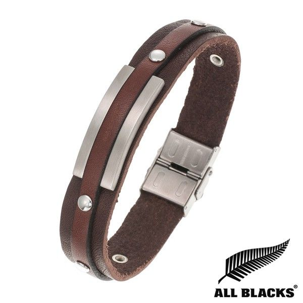 Bracelet Acier CUIR MARRON PLAQUE RIVET ALL BLACKS | BIJOUX ACIER POUR HOMME | TENDANCE | WWW.TERREDEBIJOUX.COM