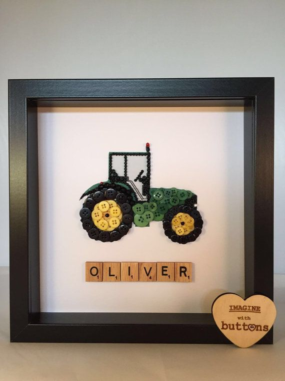 Framed Tractor Button Art by Imaginewithbuttons on Etsy
