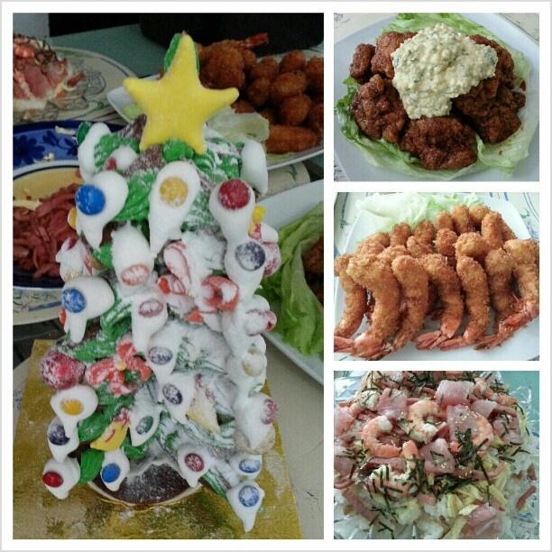 今日は実家で#クリスマス #ホームパーティー #christmas #lunch at home #family #ちらし寿司 #エビフライ #チキン南蛮 #chirashi #sushi #ebifry #chicken #nanban #japanese #food #yummy #philippines