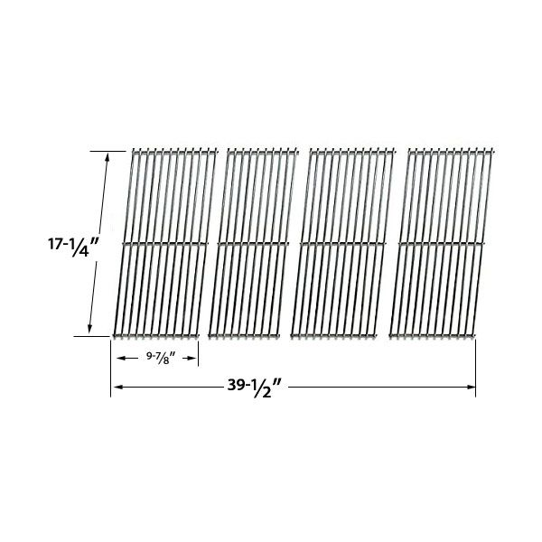 4 PACK REPLACEMENT STAINLESS STEEL COOKING GRID FOR AUSSIE 69F6U00KS1, DURO 780-0390 AND TERA GEAR 780-0390 GAS GRILL MODELS Fits Compatible Aussie Models : 69F6U00KS1