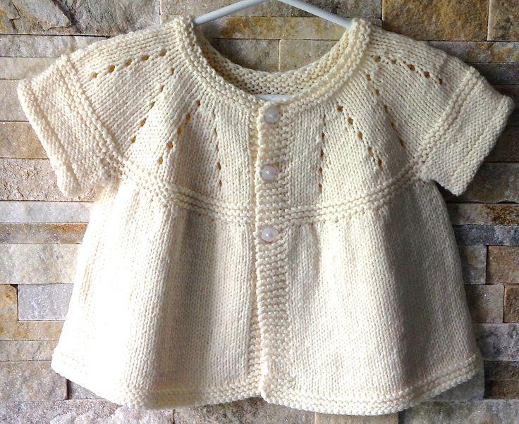 Funkyairbear Creamy Delight short sleeved cardi. Made with Marianna's All in One Sleeveless Top pattern: [http://mariannaslazydaisydays.blogspot.co.uk/2014/03/mariannas-all-in-one-sleeveless-tops.html]