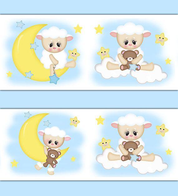 Baby Girl Nursery Wallpaper Borders Lamb Wallpaper Border For Baby Girl Boy Sheep Barnyard